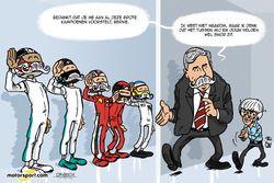 Cartoon van Cirebox - Nieuwe Formule 1-baas maakt kennis met de kampioenen