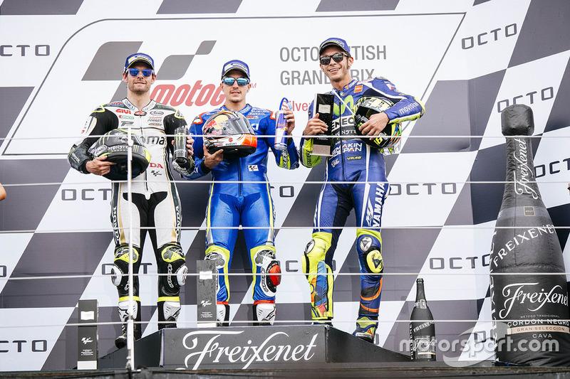 Podium: race winner Maverick Viñales, Team Suzuki MotoGP, second place Cal Crutchlow, Team LCR Honda, third place Valentino Rossi, Yamaha Factory Racing