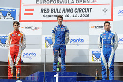 Podium: race winner Colton Herta, Carlin Motorsport, second place Leonardo Pulcini, Campos Racing, third place Diego Menchaca, Campos Racing