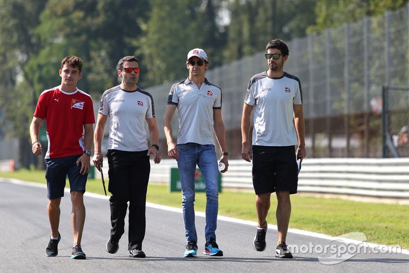 Charles Leclerc, test driver, Haas F1 Team and Esteban Gutierrez, Haas F1 Team