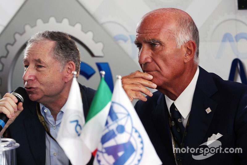 Jean Todt, FIA Başkanı ve Dr. Angelo Sticchi Damiani, Aci Csai Başkanı, Monza Pist açıklamasında