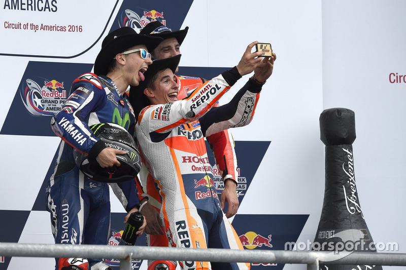Podium: ganador, Marc Marquez, Repsol Honda Team, Honda; segundo, Jorge Lorenzo, Movistar Yamaha Mot