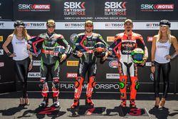 Polesitter Tom Sykes, Kawasaki Racing Team; 2. Jonathan Rea, Kawasaki Racing Team; 3. Davide Giuglia