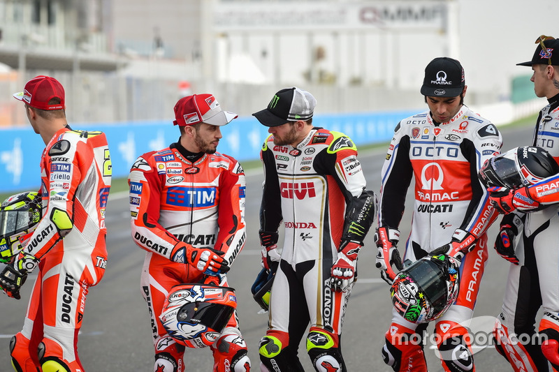 Andrea Iannone, Ducati Team; Andrea Dovizioso, Ducati Team; Cal Crutchlow, Team LCR Honda; Danilo Petrucci, Pramac Racing