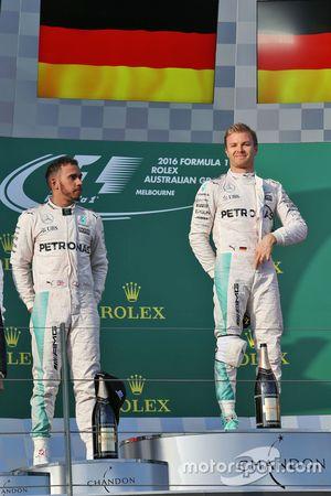 Подиум: победитель Нико Росбергов, Mercedes AMG F1 Team, второе место - Льюис Хэмилтон, Mercedes AMG