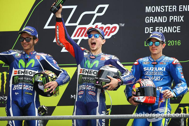 2016: 1. Jorge Lorenzo, 2. Valentino Rossi, 3. Maverick Vinales