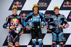 Polesitter Nicolo Bulega, Sky Racing Team VR46, second place Brad Binder, Red Bull KTM Ajo,third place Jorge Navarro, Estrella Galicia 0,0