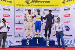 Race winner Kush Maini, second place Akhil Rabindra, third place Anindith Reddy