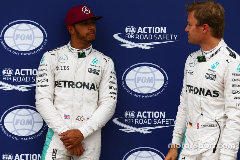 Pole for Lewis Hamilton, Mercedes AMG F1 W07 , 2nd for Nico Rosberg, Mercedes AMG Petronas