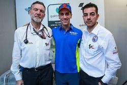 Alex Rins, Team Suzuki MotoGP, Dr Angel Charte, MotoGP Medical Director, Dr Michele Zasa, Clinica Mobile