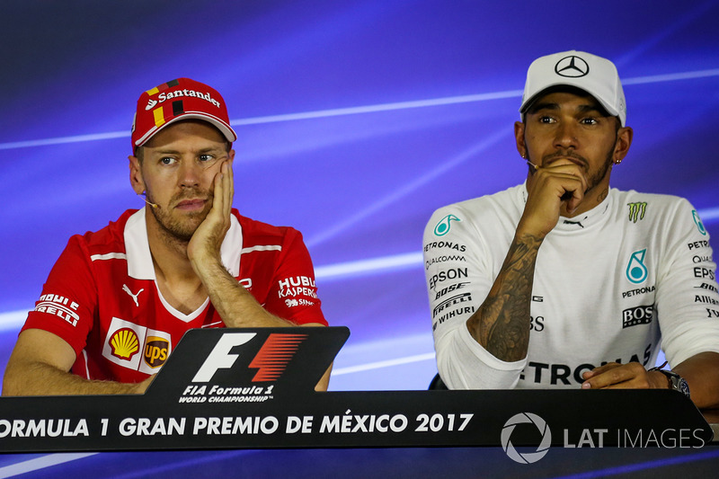 Sebastian Vettel, Ferrari and Lewis Hamilton, Mercedes AMG F1 in the Press Conference