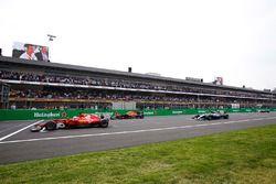 Pole-sitter Sebastian Vettel, Ferrari SF70H, lines-up ahead of Max Verstappen, Red Bull Racing RB13,