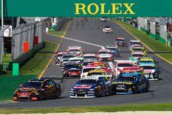 David Reynolds, Erebus Motorsport Holden, leads Jamie Whincup, Triple Eight Race Engineering Holden,