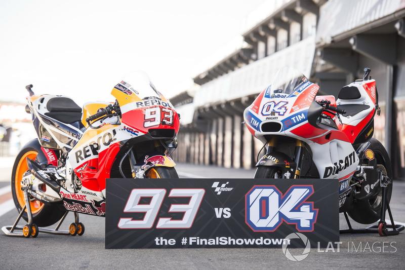 Le moto di Marc Marquez, Repsol Honda Team, Andrea Dovizioso, Ducati Team