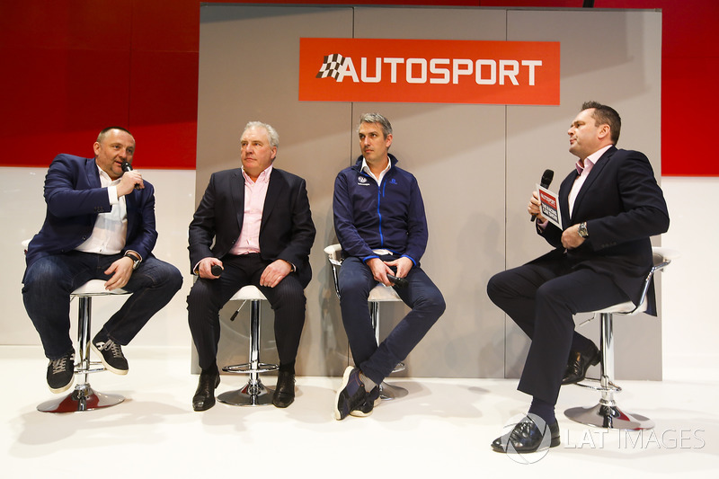 Yves Matton and representatives from the WRC talk to Henry Hope-Frost on the Autosport Stage