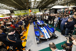 The Ginetta LMP1 car is unveiled, Graeme Lowdon and Ginetta boss Lawrence Tomlinson stand behind the car