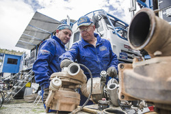 Mechanics of Team Kamaz Master at the bivouac