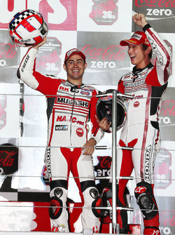 Podium: race winners Leon Haslam, Michael van der Mark, MuSASHi RT HARC-PRO