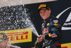 Max Verstappen, Red Bull Racing, 1st Position, sprays the Champagne