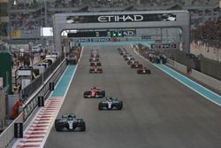 Valtteri Bottas, Mercedes F1 W08, leads Lewis Hamilton, Mercedes F1 W08, Sebastian Vettel, Ferrari SF70H, and the rest of the field on the formation lap