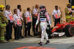 Sergio Perez, Sahara Force India dans le Parc Fermé
