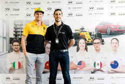 Nico Hulkenberg, Renault Sport F1 Team, with INFINITI Engineering Academy member