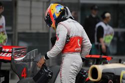 Lewis Hamilton, McLaren en parc ferme