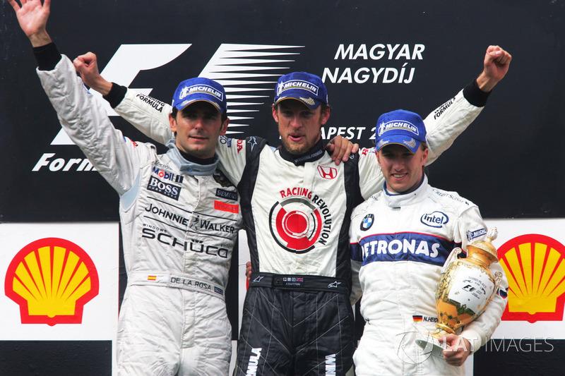 Podio: Pedro de la Rosa, McLaren, Jenson Button, Honda Racing F1 Team, Nick Heidfeld, BMW Sauber F1