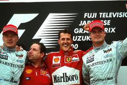 Podium: Mika Hakkinen second , Jean Todt, race winner Michael Schumacher, Ferrari F1 2000 and David