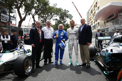 Chase Carey, Chairman, Formula One, Ross Brawn, Managing Director of Motorsports, FOM, Keke Rosberg, Nico Rosberg and Prince Albert with the 1982 Williams FW08 Cosworth and 2016 Mercedes W07