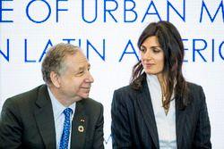 Jean Todt, président de la FIA, Virginia Elena Raggi, maire de Rome lors de la conférence FIA Smart Cities