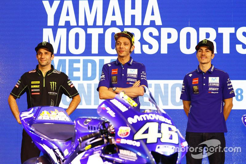 MotoGP: Johann Zarco, Valentino Rossi dan Maverick Vinales, Yamaha