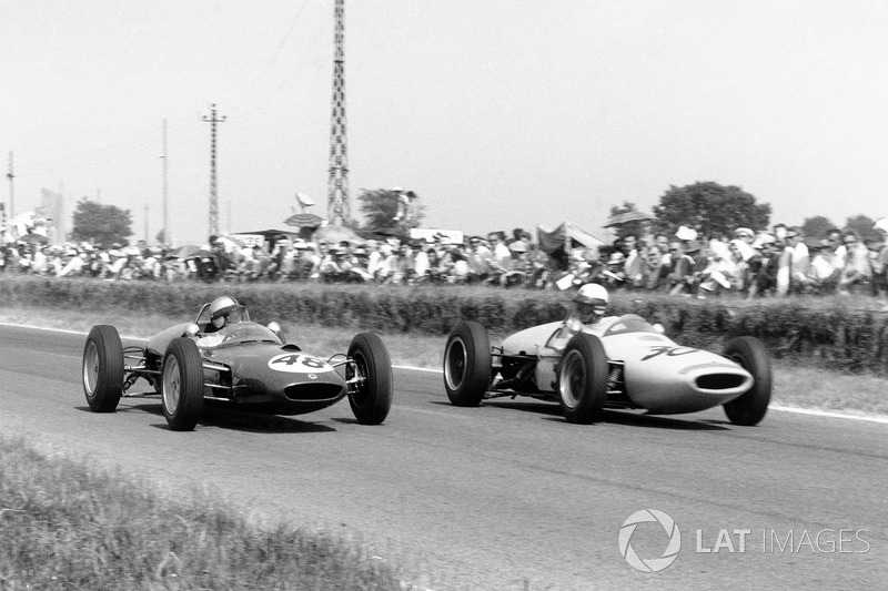 Willy Mairesse, Lotus 21-Climax, and Henry Taylor, Lotus 18/21-Climax