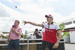 Charles Leclerc, Sauber plays darts with Sky TV