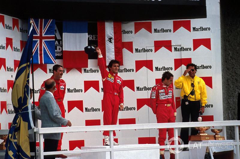 990: 1. Alain Prost, 2. Nigel Mansell, 3. Gerhard Berger