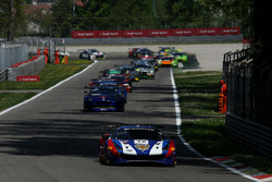Start action, #72 SMP Racing Ferrari 488 GT3: Mikhail Aleshin, Davide Rigon, Miguel Molina leads