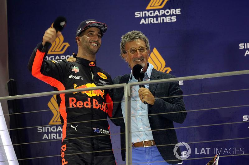 Daniel Ricciardo, Red Bull Racing festeggia sul podio, Eddie Jordan