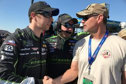 Brad Keselowski with military members and first responders