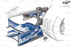 Canard sur la plaque d'extrémité de l'aileron avant de la Williams FW25