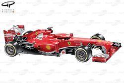 Vue de 3/4 de la Ferrari F138, à son lancement