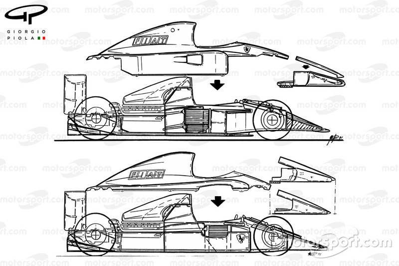 Ferrari F1-91 (642/2) 1991 comparison with 643 (top)