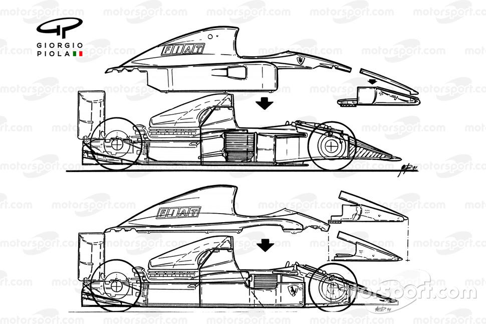 Comparación del Ferrari F1-91 (642/2) 1991 contra el 643 (arriba)