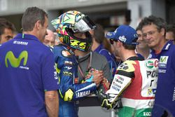Third place qualifying for Cal Crutchlow, Team LCR Honda,second place Valentino Rossi, Yamaha Factor