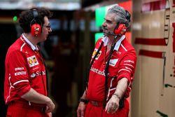 Mattia Binotto, Ferrari Chief Technical Officer with Maurizio Arrivabene, Ferrari Team Principal