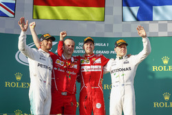 Lewis Hamilton, Mercedes AMG, 2nd Position, Luigi Fraboni, Head of Power Unit Race Operation, Ferrari, Sebastian Vettel, Ferrari, 1st Position, and Valtteri Bottas, Mercedes AMG, 3rd Position, on the podium