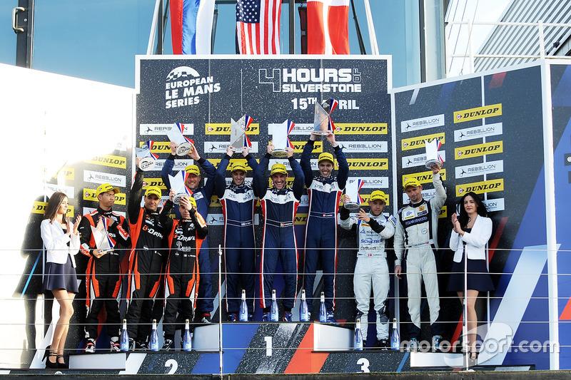 Podium: race winners William Owen, Hugo de Sadeleer, Filipe