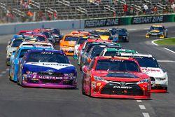 Erik Jones, Joe Gibbs Racing Toyota, Ryan Blaney, Team Penske Ford and Darrell Wallace Jr., Roush Fenway Racing Ford