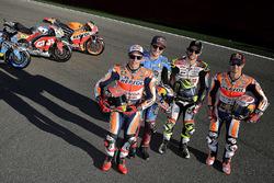 Marc Marquez, Repsol Honda Team; Jack Miller, Estrella Galicia 0,0 Marc VDS; Cal Crutchlow, Team LCR, Honda; Dani Pedrosa, Repsol Honda Team