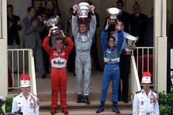 Podium: Race winner David Coulthard, McLaren, second place Rubens Barrichello, Ferrari, third place