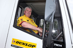 David Batrum driving the drivers parade truck